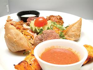 Samosa tikka, onion bhaji and dip
