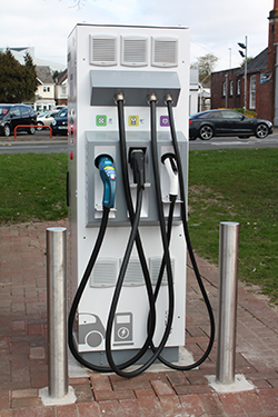The first charger at Poole's Civic Centre pay and display car park.